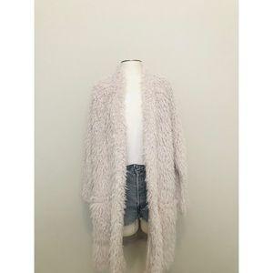 Zara Faux Fur Longline Cardigan